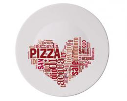 BORMIOLI Talíø sklenìný pizza I LOVE PIZZA RED 33 cm