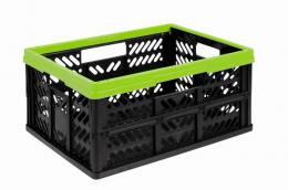 FOLDING CRATE 32L, 34X47X5CM, GREEN AND BLACK