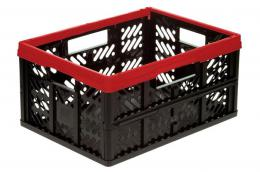 FOLDING CRATE 32L, 34X47X5CM, RED AND BLACK