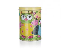 Plechovka OWLS ROUND SMALL 7,5 x 11 cm