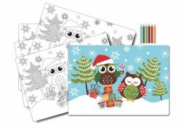 SET XMAS OWL PRINT TABLE COLORING, WITH 6 PENCILS