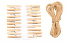 PEGS FOR WISHCARD 2,5CM, 20PCS + ROPE 1,5M